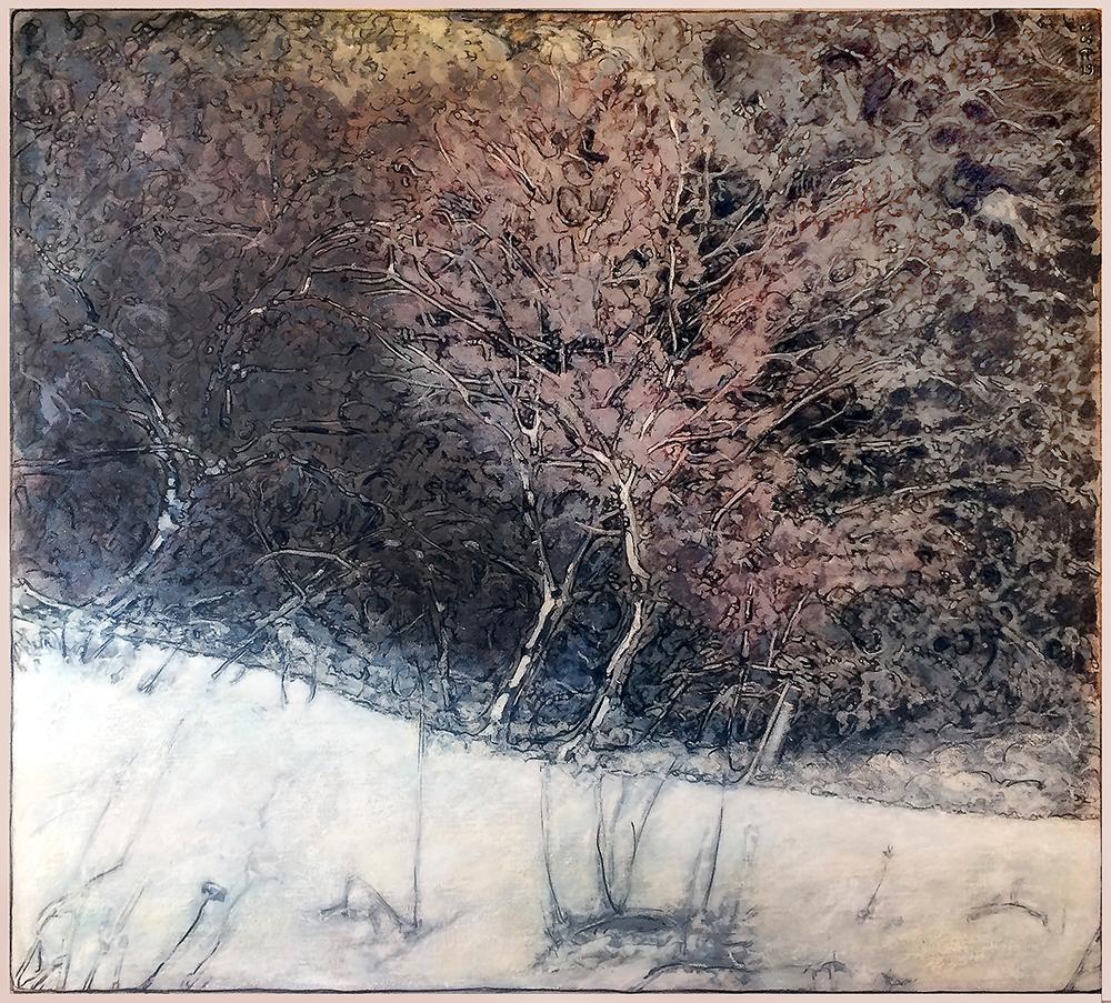 feuillages d hiver - 100 x 90 cm - sur toile - 2019