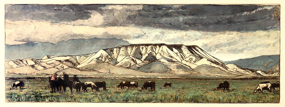 kyrgyzstan montagne sacree - 117 x 42 cm - sur toile - 2019